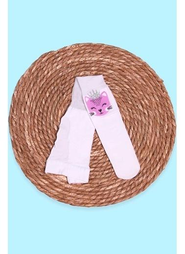 İTALİANA Kız Çocuk Külotlu Çorap Kedi Baskılı Simli Beyaz (2-13 Yaş) Beyaz